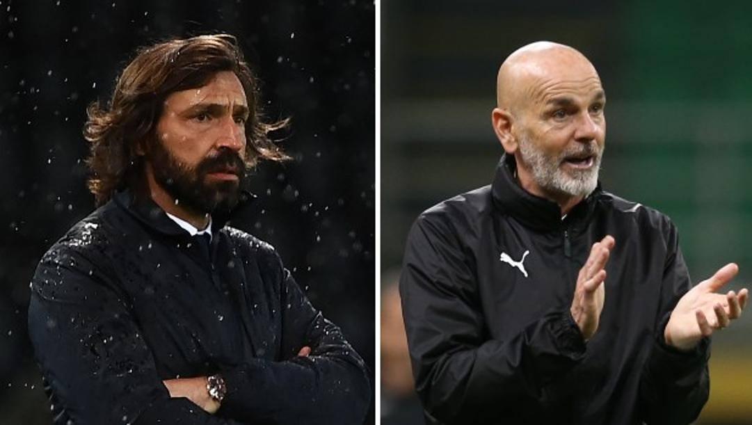 Andrea Pirlo, 41 anni, e Stefano Pioli, 55. Afp e Lapresse