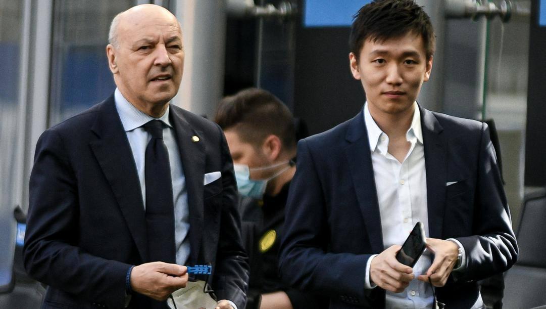 Beppe Marotta con Steven Zhang. LaPresse