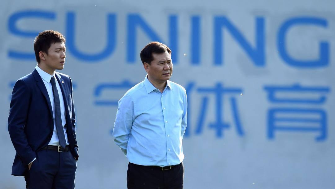 Zhang Jindong, patron dell'Inter, con il figlio Steven, presidente del club nerazzurro. Getty