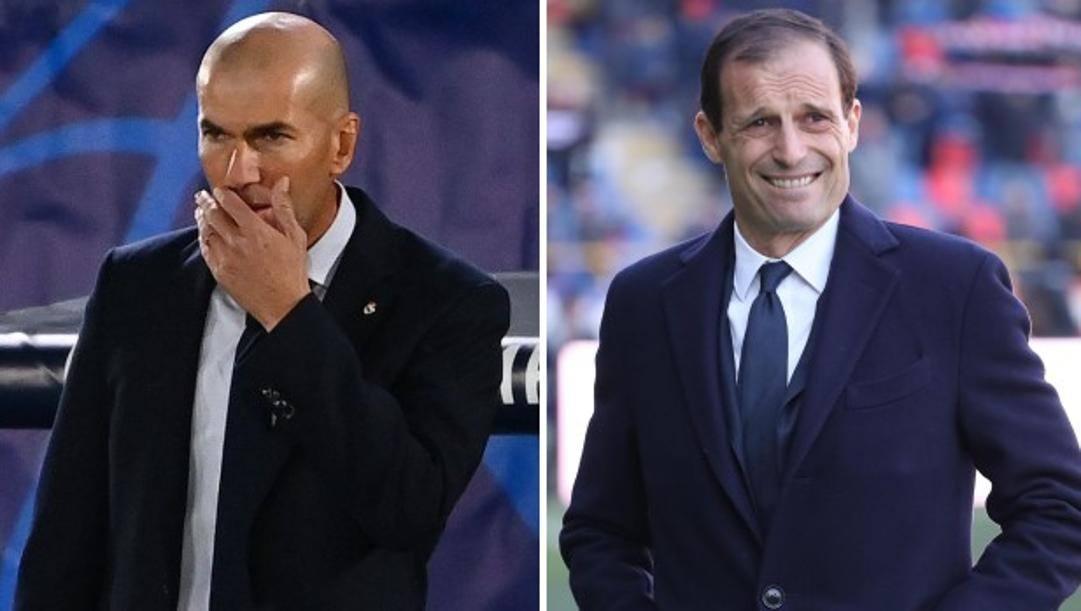 Da sinistra Zinedine Zidane e Massimiliano Allegri. Afp/Ansa
