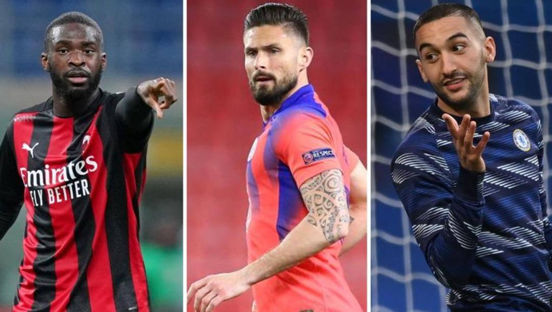Da sinistra: Tomori (Milan), Giroud (Chelsea) e Ziyech (Chelsea)