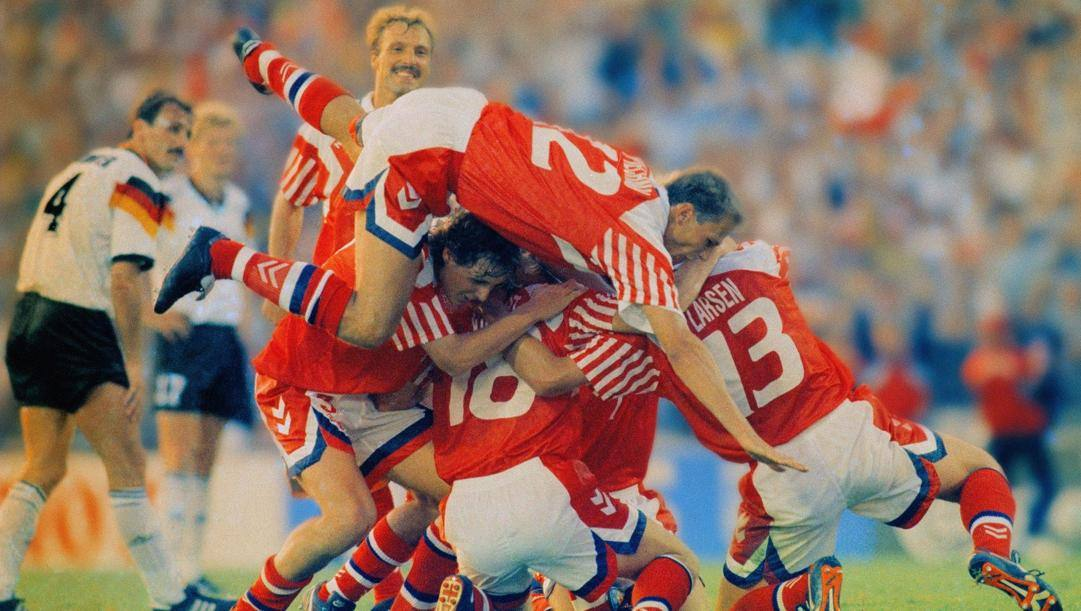 La festa danese per la vittoria dell'Europeo nel 1992