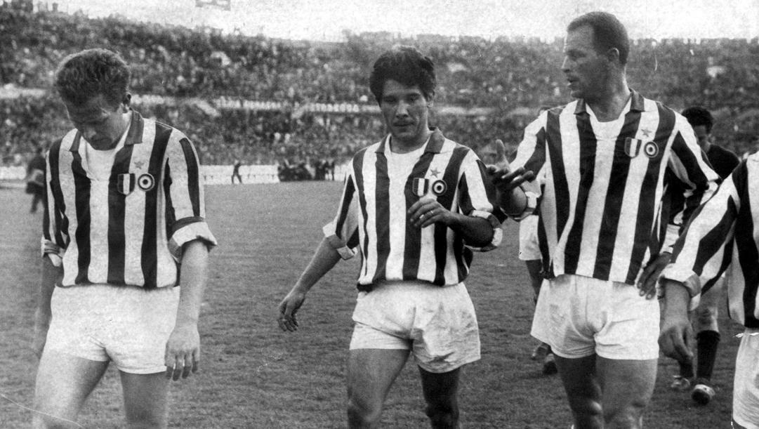 Giampiero Boniperti con Omar Sivori e John Charles. Rcs Quotidiani