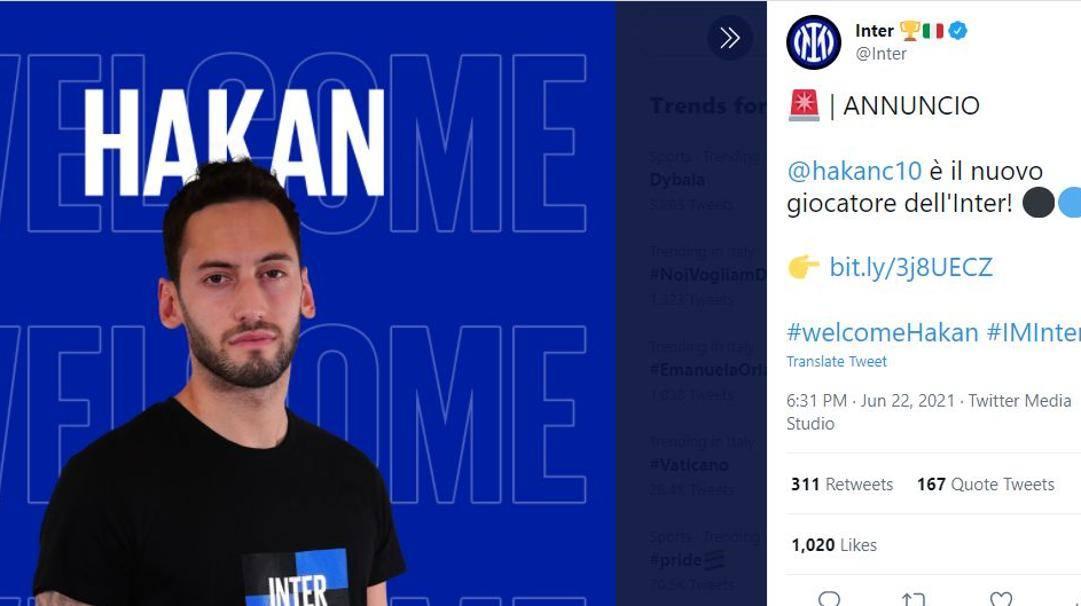 Il tweet dell'Inter con l'annuncio ufficiale.TWITTER