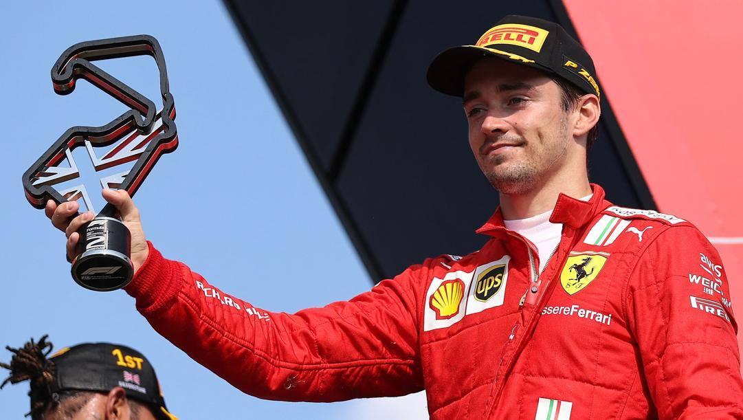 Charles Leclerc sul podio di Silverstone