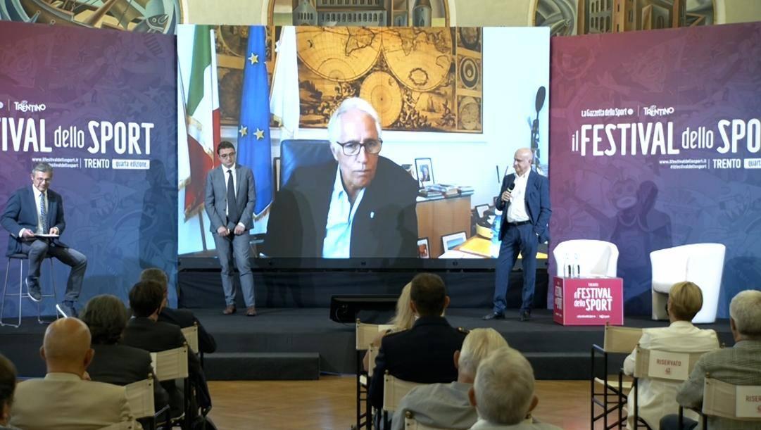 Un momento della presentazione della 4ª edizione del Festival dello Sport, a Trento.