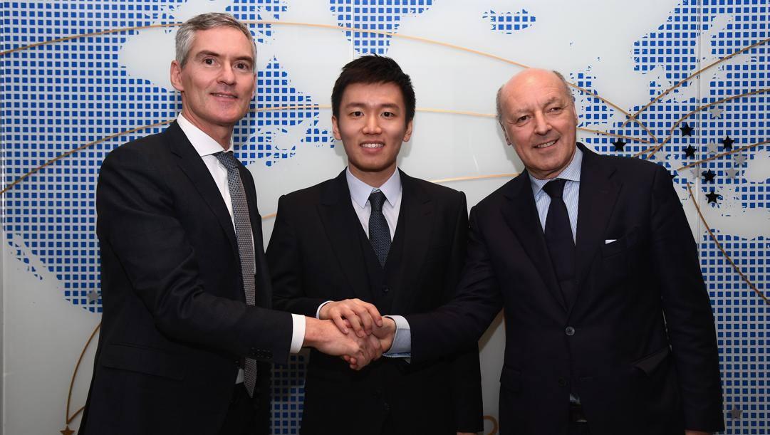 Steven Zhang tra gli ad Alessandro Antonello e Beppe Marotta. Getty