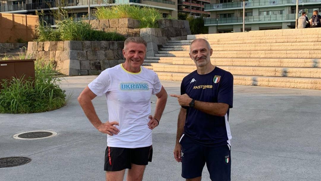 A sin. Serghey Bubka, a destra il coach azzurro el judo Raffaele Toniolo