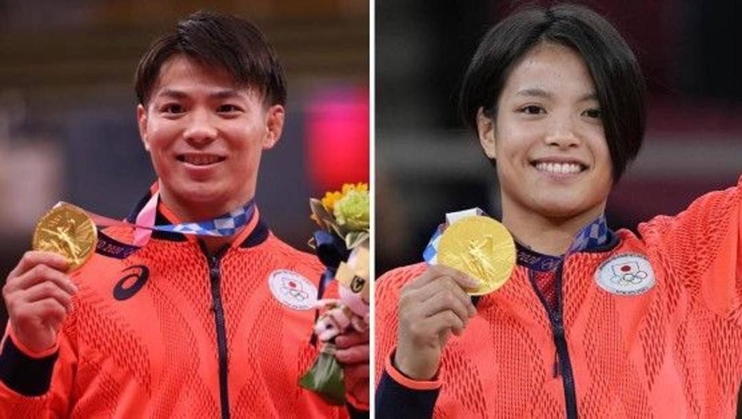 A sin. Hifumi Abe, oro nei -66 kg, a destra la sorella Uta, oro nei -52 kg