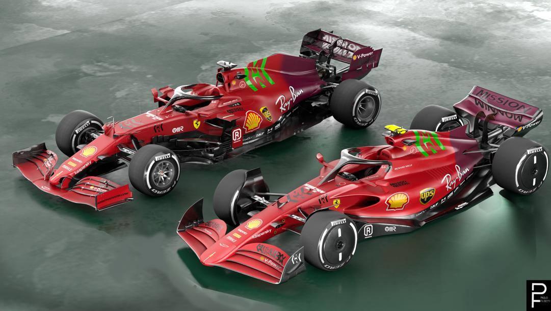 Un rendering di una F1 del 2022 come presentata a Silverstone, con l'attuale livrea Ferrari. Filisetti
