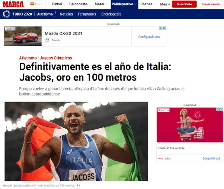 La prima pagina di Marca esalta l'anno dello sport italiano, culminato oggi col trionfo di Jacobs in una delle gare simbolo dei Giochi.