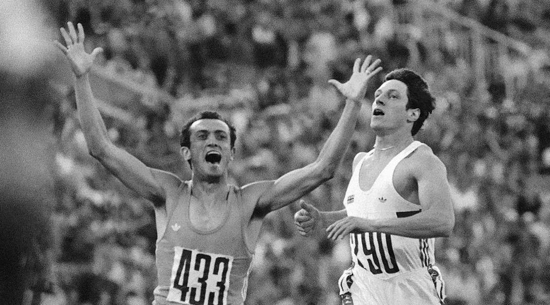 Pietro Mennea esulta dopo l'oro olimpico a Mosca nel 1980. AP