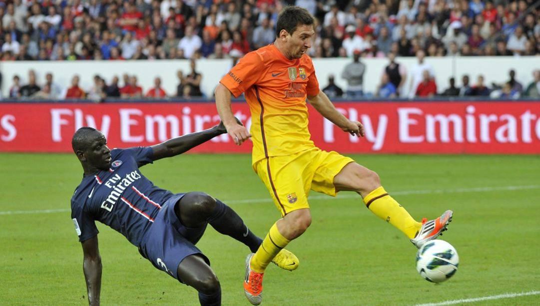 Leo Messi contro il Psg in maglia Barcellona. Afp