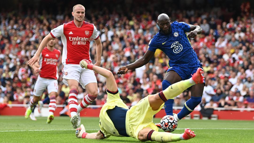 Il gol di Lukaku all'Arsenal. Getty