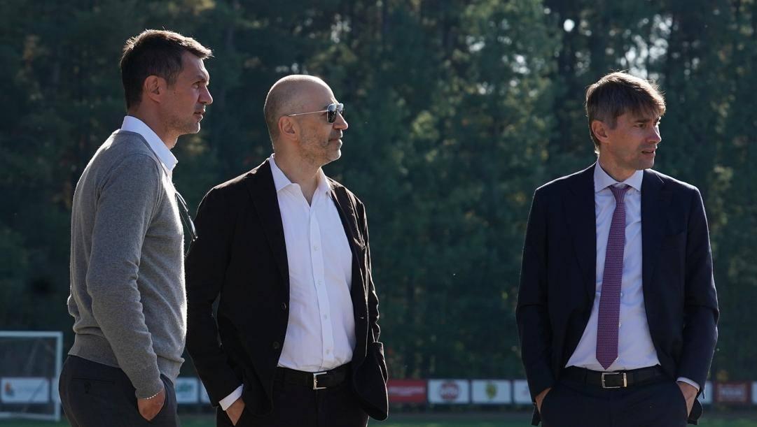 Paolo Maldini, Ivan Gazidis e Ricky Massara. LaPresse