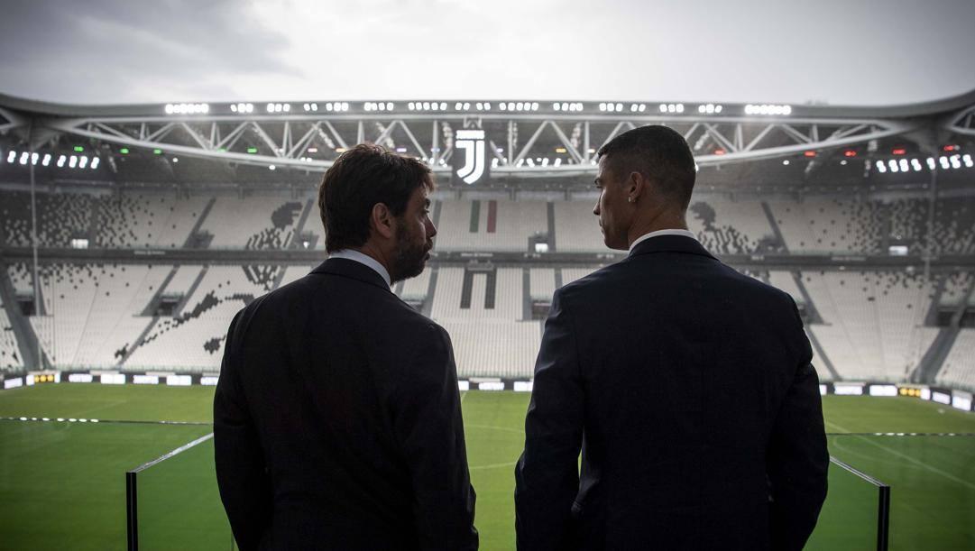 Il presidente della Juventus Andrea Agnelli e Cristiano Ronaldo. Getty