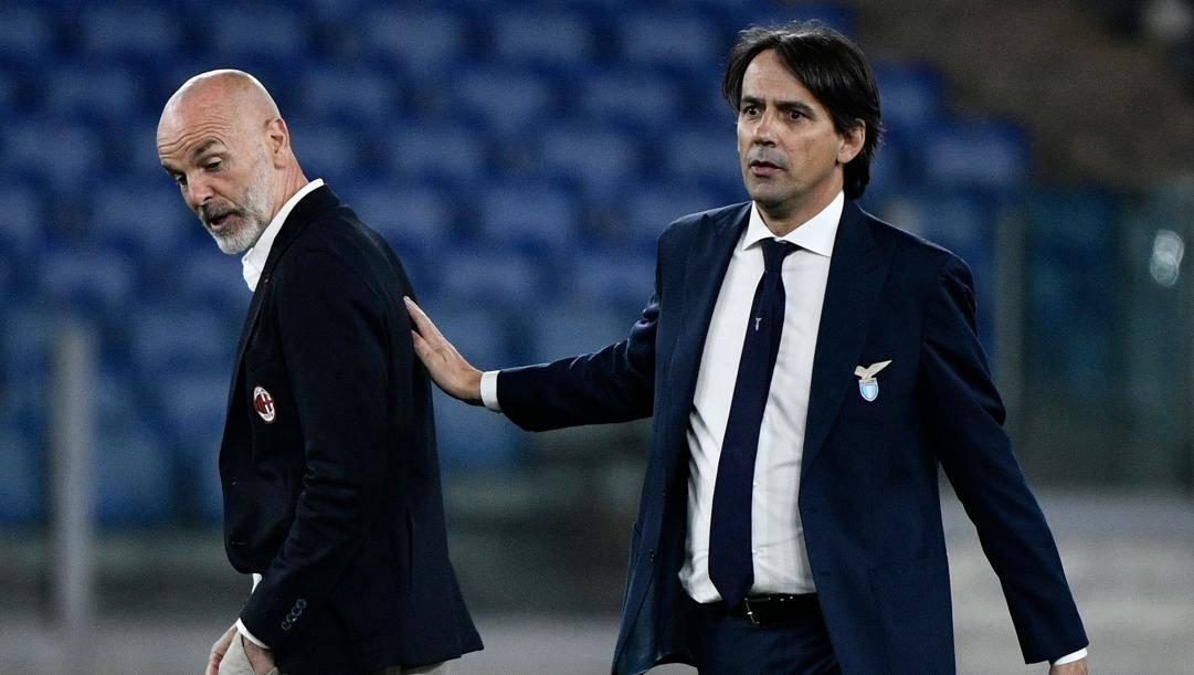 Stefano Pioli e Simone Inzaghi. Afp