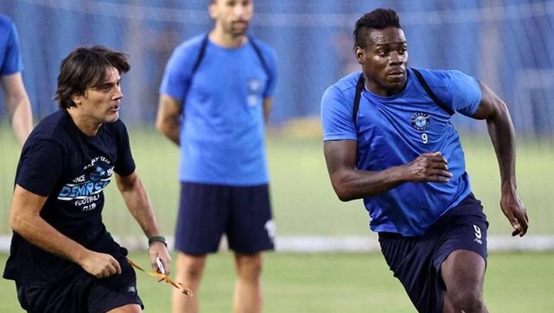 Vincenzo Montella e Mario Balotelli in allenamento all'Adana. Foto da @adskulubu