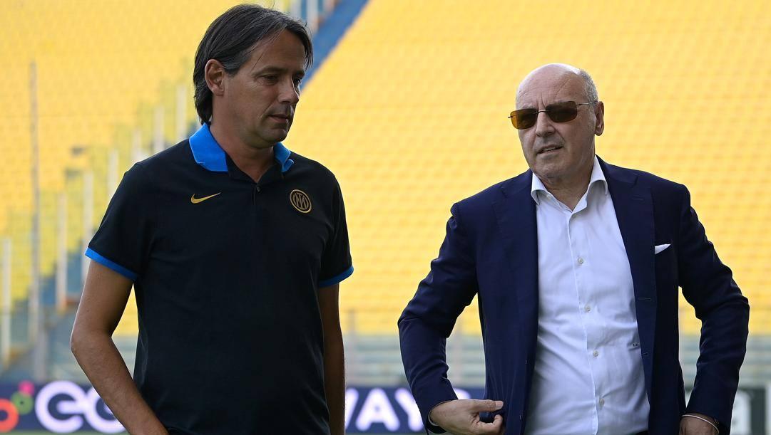 Beppe Marotta con Simone Inzaghi. Getty