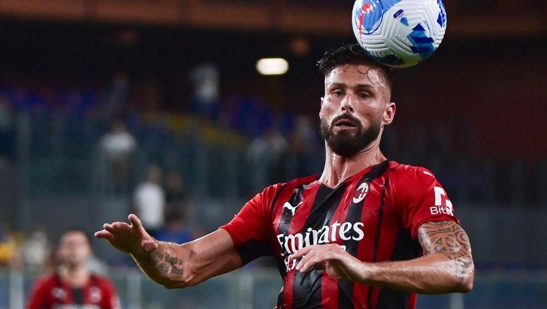 Olivier Giroud, 34 anni, prima stagione al Milan. Afp