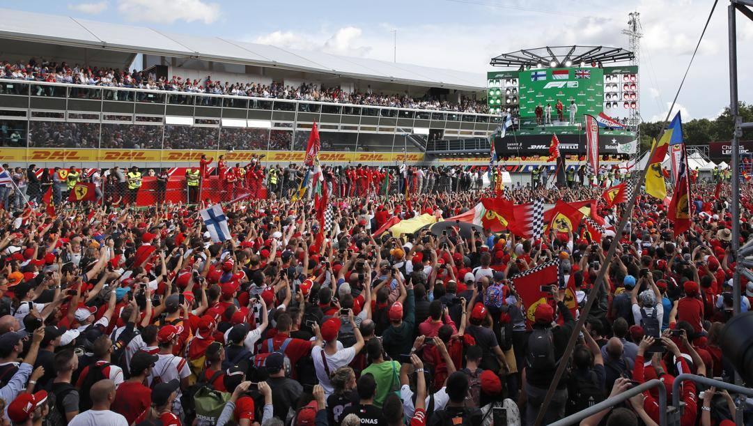 La festa a Monza nel 2019 per il trionfo di Leclerc. Ap