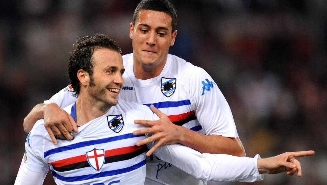 Giampaolo Pazzini nel 2010, dopo i gol alla Roma che permisero all'Inter il sorpasso scudetto. Ansa