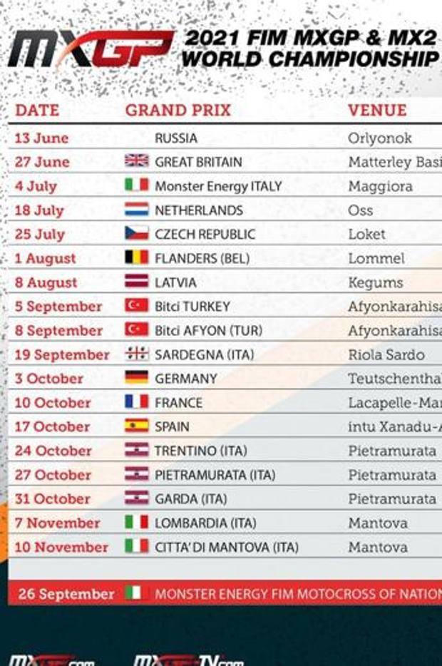 Il calendario aggiornato della serie Mxgp