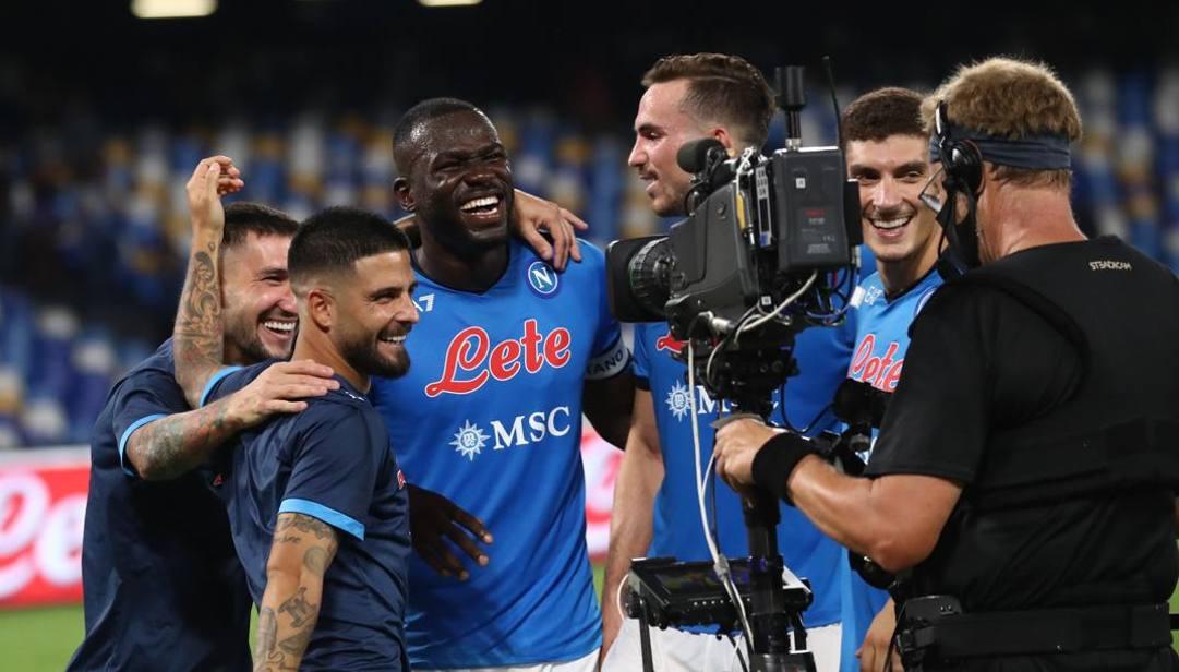 I giocatori del Napoli festeggiano. Getty