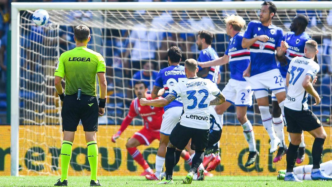 Il gol di Dimaro alla Samp. Ansa