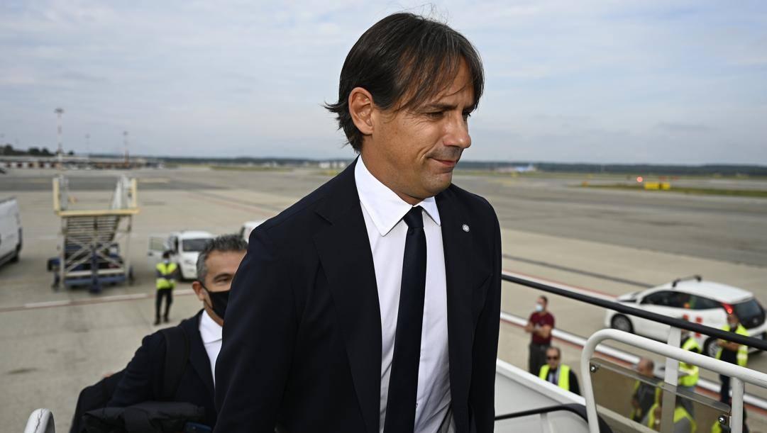 Simone Inzaghi in partenza per Kiev. Getty