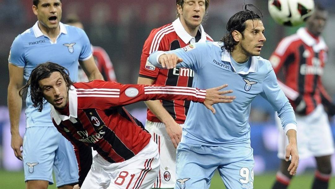 Cristian Zaccardo, 39 anni, con la maglia del Milan contro la Lazio nel 2013 (LAPRESSE)