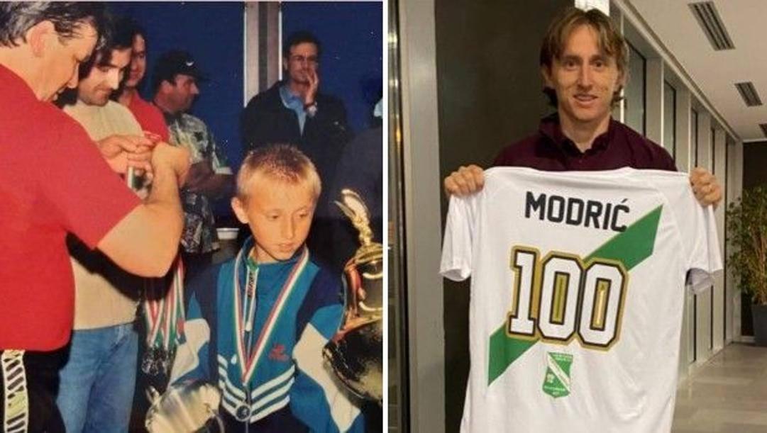 A sinistra, Luka Modric premiato al torneo di Alzano Lombardo nel 1997; a destra, con la maglia del centenario dell'Immacolata Alzano