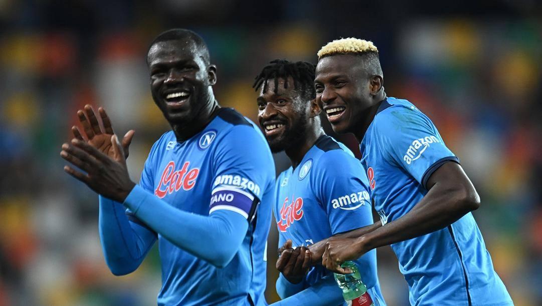 Kalidou Koulibaly, André Anguissa e Victor Osimhen, calciatori del Napoli.   Getty Images