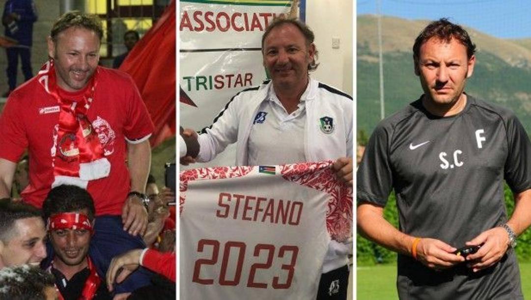 Stefano Cusin, 52 anni, allenatore gira mondo: da sinistra, in Palestina, in Sud Sudan e negli Emirati Arabi Uniti
