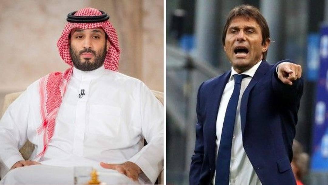 Il prinicipe Mohammed bin Salman, 36 anni, e Antonio Conte, 52