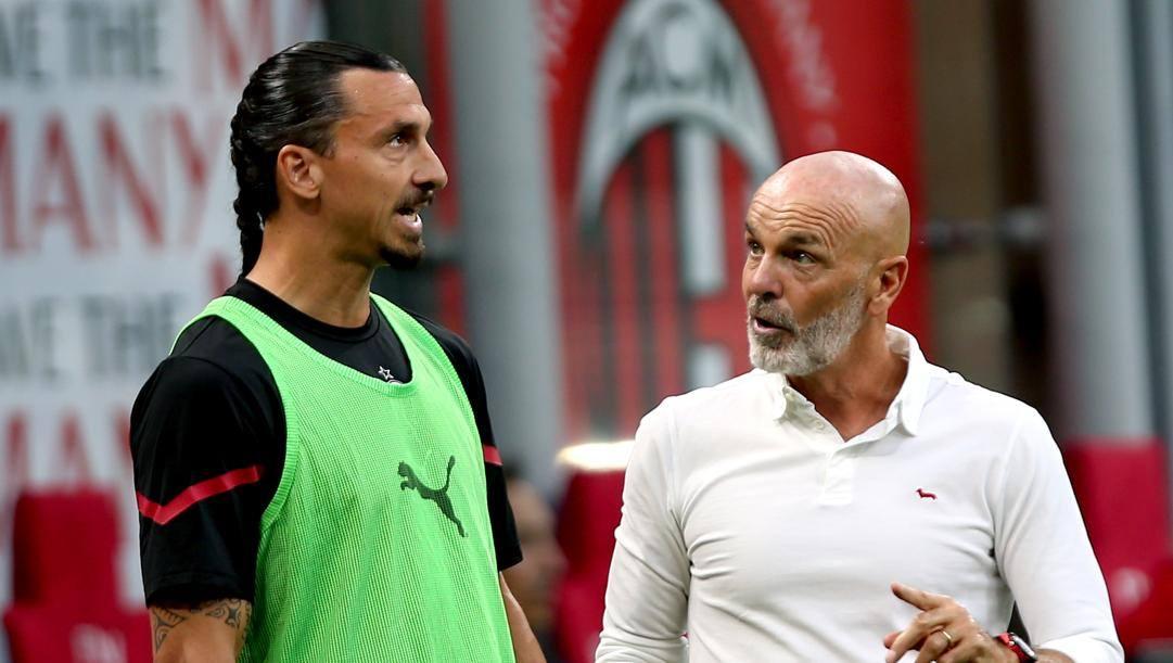 Zlatan Ibrahimovic, 40 anni, con Stefano Pioli, 55. Kulta