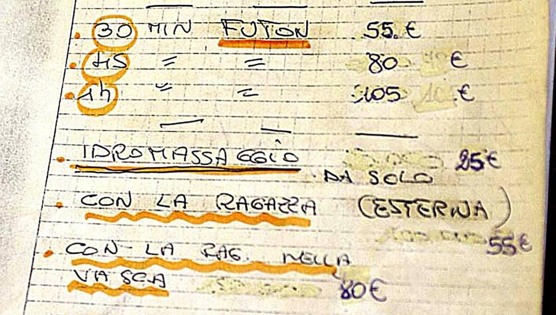 Il listino prezzi del Viva Lain. Ansa