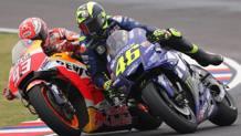 Marquez e Rossi dopo il GP di Laguna Seca in cui Marquez sorpassò Rossi al Cavatappi