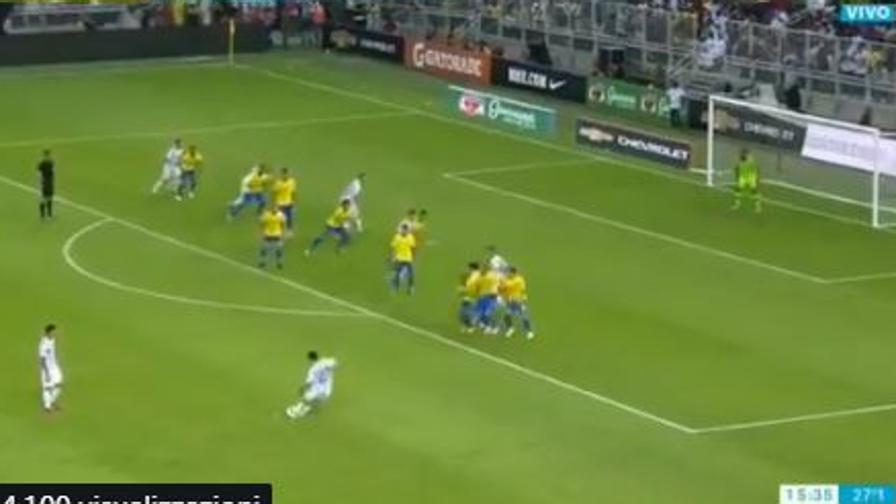 Dybala e il Brasile: che punizione!