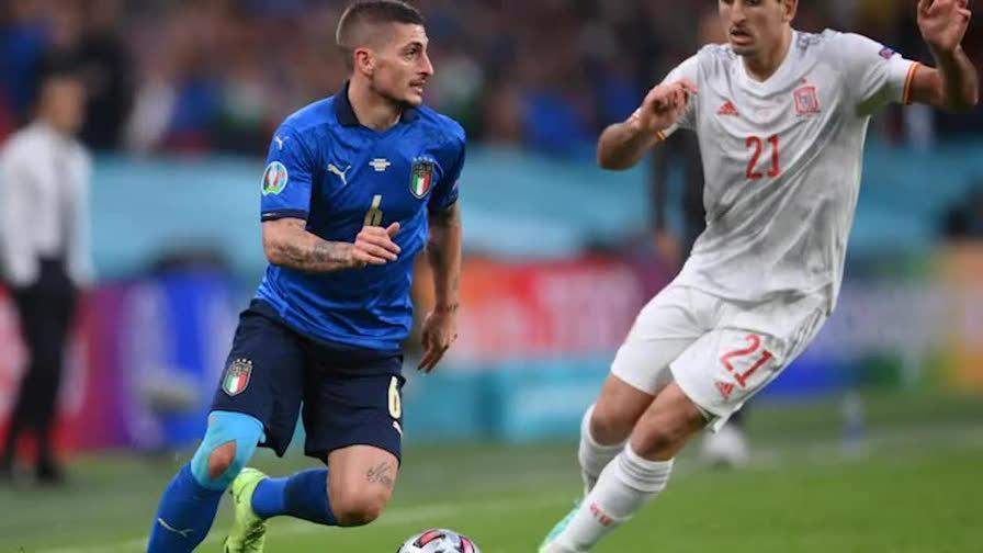Le immagini del gol con cui Federico Chiesa al 60' spezza la parità nella semifinale di Euro 2020 tra Italia e Spagna